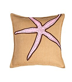 Greendale Home Fashions Starfish Applique Burlap Decorative Pillow