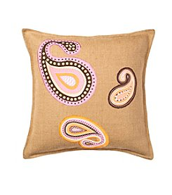 Greendale Home Fashions Paisley Applique Burlap Decorative Pillow