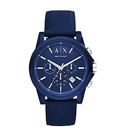 A|X Armani Exchange Mens Silvertone Navy Nylon With Silicone Straps Watch