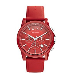 A|X Armani Exchange Mens Silvertone Red Nylon With Silicone Straps Watch