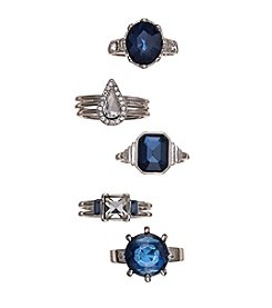 GUESS Silvertone Stackable Stone Ring Set