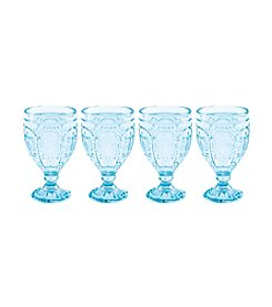 Fitz and Floyd® Trestle Set of 4 Aqua Goblets