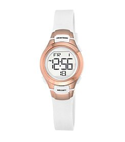 Armitron Sport Women's Rose Goldtone Accented Digital Chronograph Strap Watch