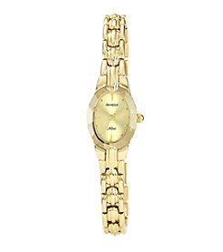 Armitron Women's Oval Faceted Wall-to-Wall Crystal Goldtone Bracelet Watch