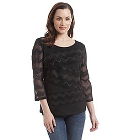 Notations® Printed Lace Top