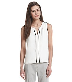 Calvin Klein Petites' Split Neck Tipped Top