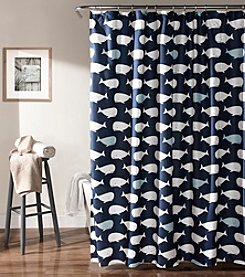 Lush Decor Navy Whale Shower Curtain