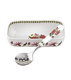 Portmeirion® Botanic Garden Cranberry Dish with Slotted Spoon