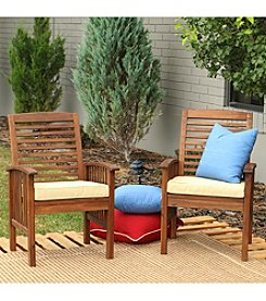 W.Designs Set of 2 Dark Brown Acacia Patio Chairs with Cushions