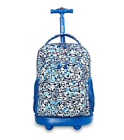J World® Geo Blue Sunny Rolling Backpack