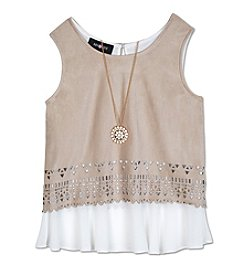 Amy Byer Girls' 7-16 Layered Lazer-Cut Suede Tank With Necklace