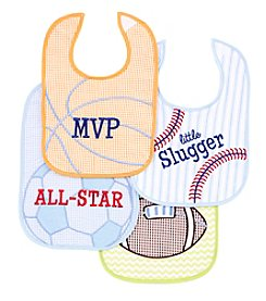 Cuddle Bear® Baby Boys' 4-Pack Little Slugger Bibs