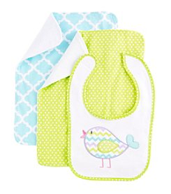 Cuddle Bear® Baby Girls' Bird Bib Set