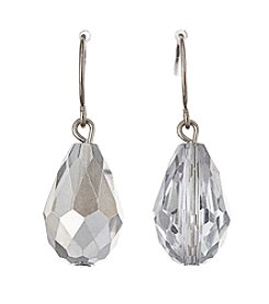 BT-Jeweled Silvertone Metallic Faceted Bead Teardrop Earrings