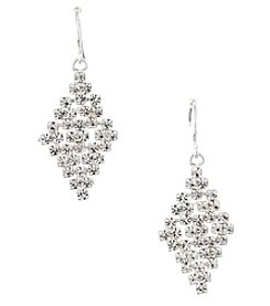 BT-Jeweled Silvertone And Simulated Crystal Mini Chandelier Earrings