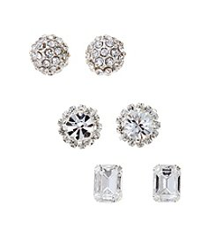 BT-Jeweled Silvertone And Simulated Crystal Trio Stud Earrings Set