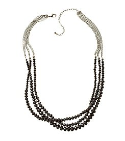 BT-Jeweled Hematite Three-Row Beaded Necklace