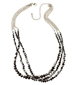 BT-Jeweled Metallic And Palladium Three Row Beaded Necklace
