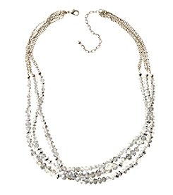 BT-Jeweled Metallic And Palladium Three Rows Beaded Necklace