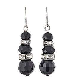 BT-Jeweled Black Faceted Bead With Rhinestone Accent Drop Earrings