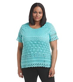 Notations® Plus Size Biadere Short Sleeve Lace Top