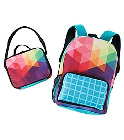 Rainbow Fractal Canvas Backpack with Lunch Tote