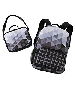 Black & White Fractal Canvas Backpack with Lunch Tote