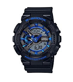 G-Shock Men's XL Analog-Digita; Black with Blue Camo Dial Watch
