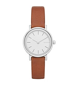 Skagen Denmark Women's Hald Watch In Silvertone With Brown Leather Strap