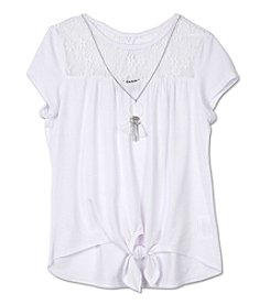 Amy Byer Girls' 7-16 Short Sleeve Lace Yoke Top With Necklace