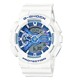 G-Shock® Men's XL White Analog-Digital Watch with Blue Accents