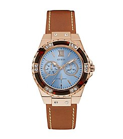 Guess Women's Tan And Rose Goldtone Sport Watch