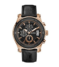 GUESS Men's Black and Rose Goldtone Chronograph Watch