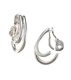 Napier® Silvertone Double C-Hoop Clip Earrings