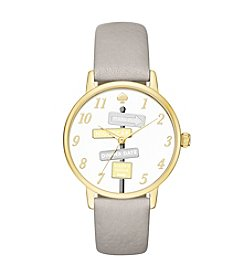 kate spade new york® Women's Clocktower Grey Leather And Goldtone Metro Watch