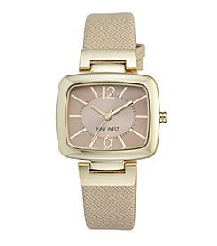 Nine West® Women's Goldtone Rectangular Strap Watch