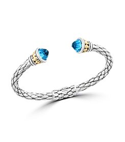 Effy® 925 Collection Blue Topaz Sterling Silver Bangle with 18K Yellow Gold Accents