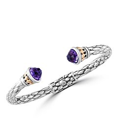 Effy® 925 Collection Amethyst Sterling Silver Bangle with 18K Yellow Gold Accents