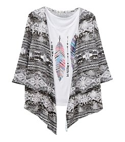 Miss Attitude Girls' 7-16 3/4 Sleeve Cardigan With Feathers Tee