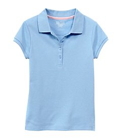 Nautica® Girls' 7-16 Short Sleeve Polo with Picot Trim