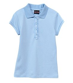 Nautica® Girls' 7-16 Short Sleeve Polo with Ruffle Accents