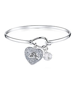 Disney® Princess Crystal Crown Charm Bangle Bracelet