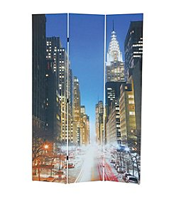 Acme Trudy 3-Panel New York Scenery Wooden Screen