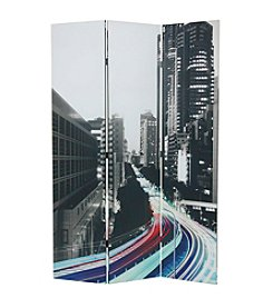 Acme Trudy 3-Panel City Scenery Wooden Screen