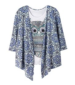 Miss Attitude Girls' 7-16 3/4 Sleeve Cardigan With Owl Tee