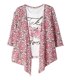 Miss Attitude Girls' 7-16 3/4 Sleeve Cardigan With Take Less Give More Tee