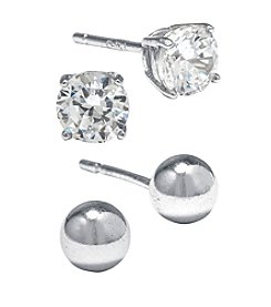 Athra Sterling Silver Cubic Zirconia & Ball Stud Duo Earrings Set