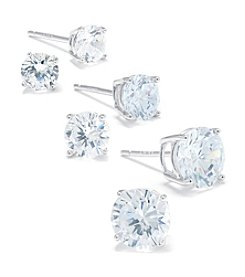 Athra Sterling Silver Cubic Zirconia Stud Trio Earrings Set
