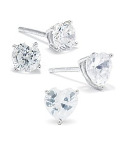 Athra Sterling Silver Cubic Zirconia Stud and Heart Duo Earrings Set