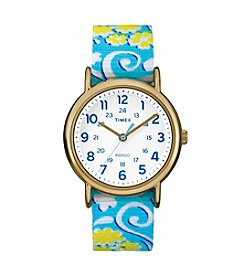 Timex® Women's Weekender Blue Floral Nylon Watch